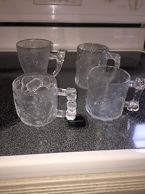 McDONALDS 1993 FLINTSTONES GLASS MUGS COMPLETE SET OF 4!