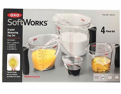 NEW OXO SoftWorks Set of 4 Angled Measuring Cup Set Pack Housewarming Gift Idea!