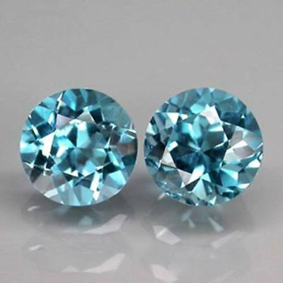 3.1ct NATURAL VVS Sky Blue TOPAZ Round Pair 7mm MATCHED LOOSE STONES (59)