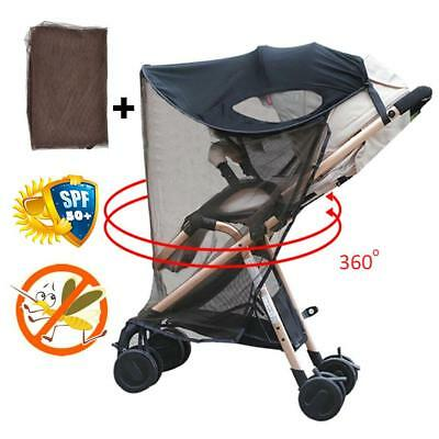 Universal Buggy Pushchair Stroller Pram Sun Canopy Ray Shade Cover+Mosquito Nets