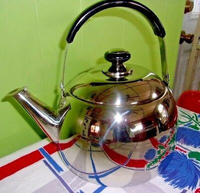 Large Vtg Aluminum Tea Kettle Chrome Finish 10-12 Cups