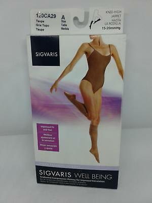 SIGVARIS 120CA29 15-20 mmHg Sheer Fashion Knee High-Size A-Taupe