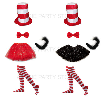 Dr Seuss Cat in the Hat Book week Costume Top Hat Tutu Sparkle Socks Bow Tie