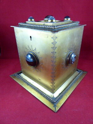 Antique Georgian Period Gilt Metal Tea Caddy Inset With Scottish Agate Stones