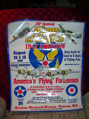 "National Warplane Museum GENESEO N.Y. ""Wings Of Eagles"" Poster 1990 24""x19"""