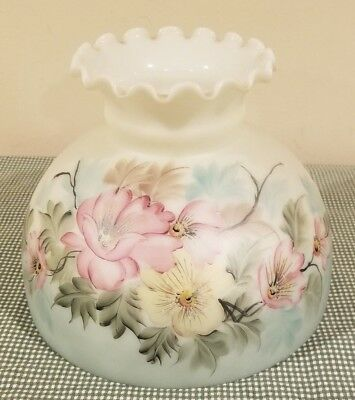 "Vtg 10"" Hand Painted Flowers Satin Finish Oil Kerosene Glass Lamp Shade Aladdin"