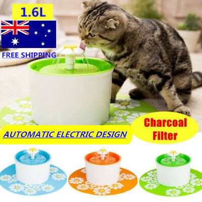 Flower Style Dog Cat Water Drinking Pet Fountain Bowl Drink Dish Filter AU Plug