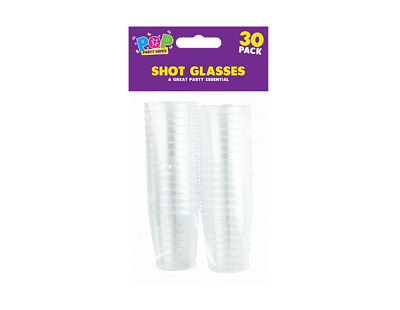 New 30x DISPOSABLE PLASTIC SHOT GLASSES Clear Jelly Tumbler Party Cups - 30ml