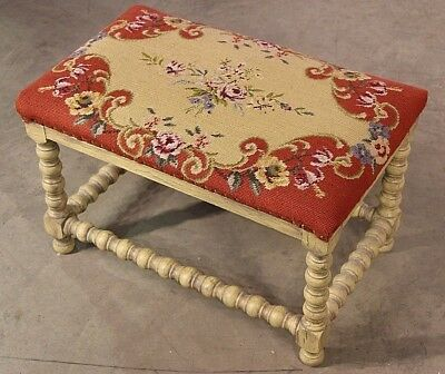 Aubusson tapestry woolwork coffee table stool French provincial antique painted