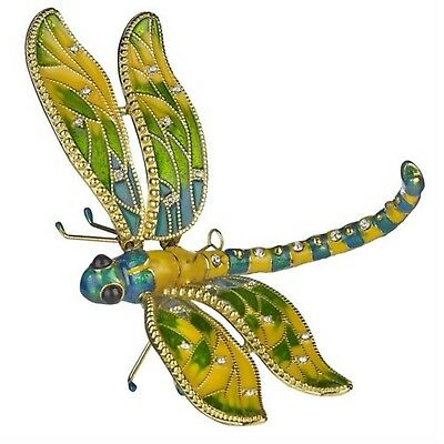 Kubla bejeweled Articulated  green dragonfly ornament. Superb quality. Insects.