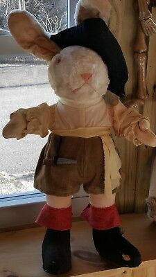 ANTIQUE RARE BIG MOHAIR PLUSH BUNNY RABBIT PIRATE BUNNY STRAW STUFFED Glass EyE
