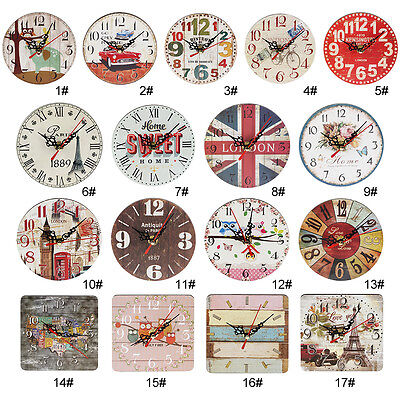 Artistic Silent Creative European Style Round Antique Wooden Home Wall Clock LM