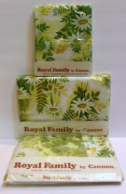 Vintage Cannon Royal Family 4 Pc FULL Sheet Set Daisy Scenic #780 NEW Old Stock