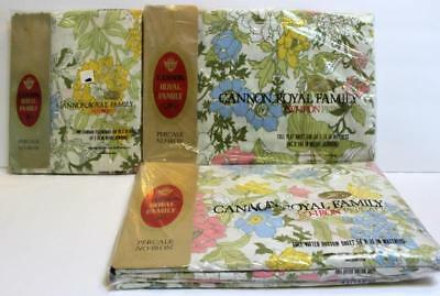 Vintage Cannon Royal Family 4 Pc FULL Sheet Set Cotswolds Floral NEW Old Stock