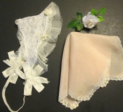 2 Pc Antique Vtg 1920s Lace Baby Doll Bonnet Hat Hand Made Victorian Hanky Child