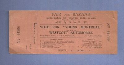 1922 Fair Ticket SISTERHOOD OF TEMPLE BETH ISRAEL Donnelly Taxi Service R. I.