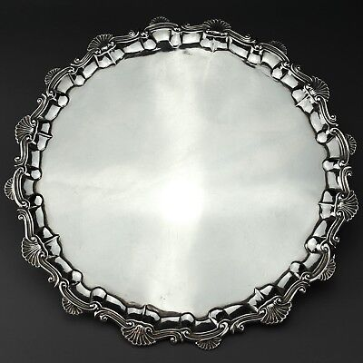 Large Antique George II Solid Sterling Silver Salver/Tray London 1759, 1,320 g.