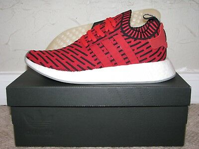 54ce1dab57ea5 adidas NMD R2 PK Primeknit Red   Black Mens Size 9.5 DS NEW! BB2910 Boost