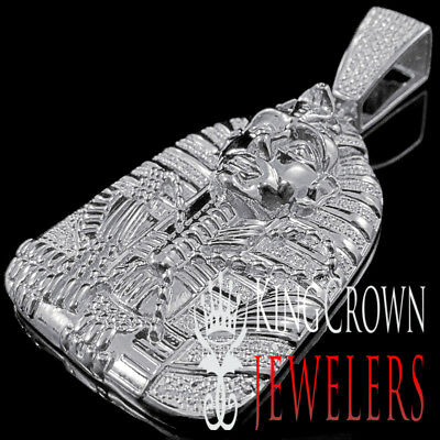 Real Diamond 0.40 Ct Egyptian Pharaoh King Tut Pendant 10K White Gold Finish