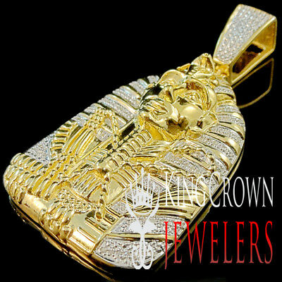 Real Diamond 0.40 Ct Egyptian Pharaoh King Tut Pendant 10K Yellow Gold Finish