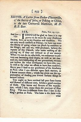 Letter from Father d'Incarville of the Society of Jesus at Peking, China - 1753