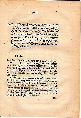 A Letter upon the early Cultivation of Botany in England - 1772