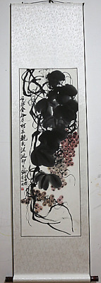 RARE Chinese Hanging Painting & Scroll Grapes By Qi Baishi 齐白石 葡萄 88A1