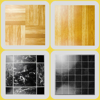 SELF ADHESIVE VINYL TILES !! Wood/Marble/Square/Kitchen~Bathroom~Flooring Lino