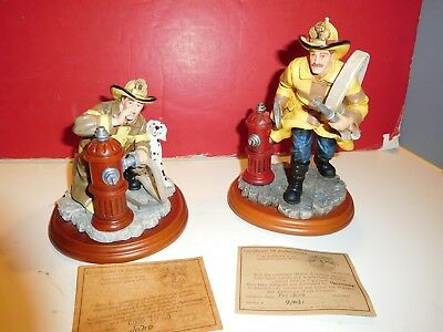 """Vanmark Red Hats of Courage fire statues-""""GOOD TO GO""""; """"FIRE ALARM""""-PAIR"""