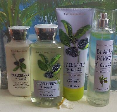 bath and body works blackberry & basil shower gel lotion cream fragrance mist