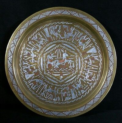 Vintage Egyptian Handcrafted Round Copper & Silver Inlaid Brass Tray 11.75 EXC
