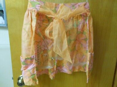 Vintage Half Apron sheer lite orange organdy over flowered print of orange,pink