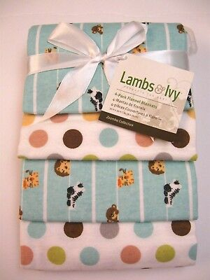 Lambs & Ivy Flannel 4-Pack Blankets - Zoomba