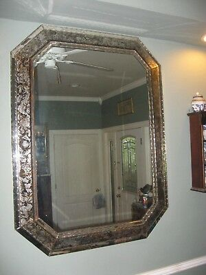 """Antique French Églomisé Reverse painted Large MIRROR Crystal Framed 49"""" x 37"""""""