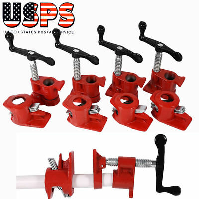 """3/4"""" Wood Gluing Pipe Clamp Set Heavy Duty PRO Woodworking Cast Iron New FOUR"""