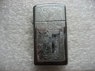 .Vintage Lighter ZIPPO Engraved Paisley Design Chrome