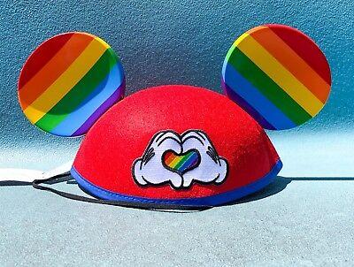 Disney Parks Mickey Mouse Ear Hat Rainbow Pride Heart Love New In Hand Gay Days