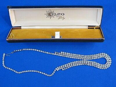 Rare Vintage Elco Quality Jewelry Sterling Silver Necklace with Original Case