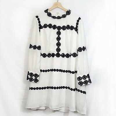 NWT Liza Luxe Modcloth Women's Applique Dress Size 4x Black White Long Sleeve