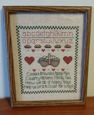 Vintage Hand Embroidered Picture Country Kitchen Family Ties  Framed