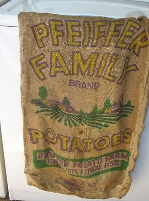 Vintage Feed Sack Bag Burlap Pfeiffer Potatoes Forest City Il Farm Bag
