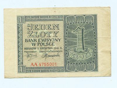 1 Zloty (Ro.579.a.)>#* Generalgouvernement, Krakau 1941*#,(AA 4755001)