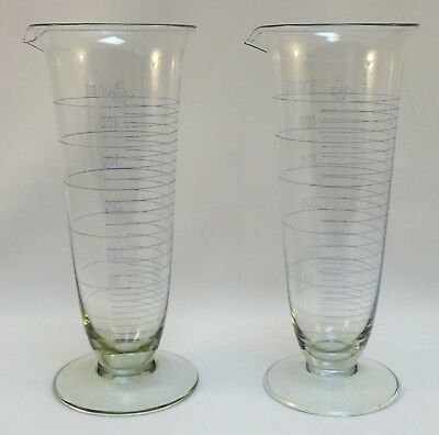 2 Vintage K EXAX USA  Apothecary Footed Beaker 500 ML Cocktail Round Base