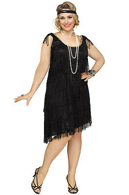Roaring 20s Prohibition Shimmery Flapper 1920s Plus Size Costume (Black)