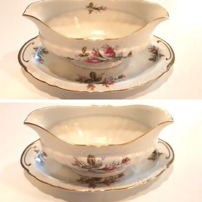 Royal Rose Fine China Of Japan  Gravy Boat & Under plate  WITH GOLD TRIM