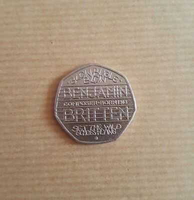 Rare Benjamin Britten 50P Coin Circulated Excellent Condition. 80% To Charity