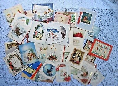 Great Lot of 44 Vintage Xmas Cards~Lovely Nostalgic Xmas Scenes and Greetings