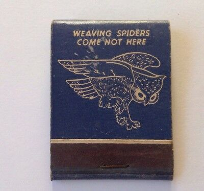 VTG Matchbook BOHEMIAN CLUB San Francisco WEAVING SPIDERS COME NOT HERE OWL PIC