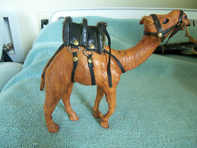 "Leather Camel w/ double saddle 7"" tall x 7.5"" wide"