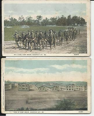 Pair of Early Unposted Camp Meade, Annapolis Jct., MD. Postcards